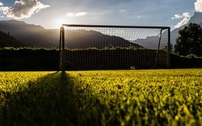 Wallpaper field, light, football, gate