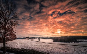 Wallpaper temple, sunset, winter