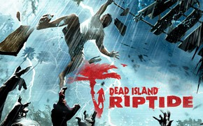 Picture zombie, blood, game, island, man, tatoo, Dead Island, Dead Island: Riptide, Dead Island Riptide, uzi