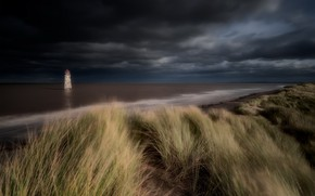 Picture sea, night, shore, lighthouse