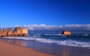 Picture sea, clouds, rocks, shore, Victoria, Australia