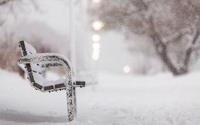 Picture winter, snow, street, bench
