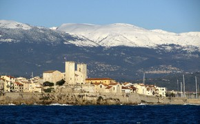 Picture sea, landscape, mountains, France, tower, home, Antibes