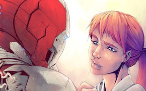 Picture Girl, Figure, Look, Girl, Costume, Hero, Superhero, Hero, Armor, Iron man, Red, Iron Man, Marvel, …