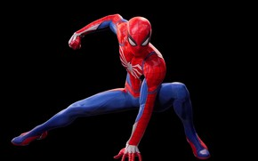 Picture costume, black background, sony, Marvel, suit, Spider-Man, Exclusive, super hero, PS4, Insomniac Games, Spider - …