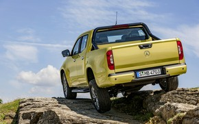 Picture stones, yellow, vegetation, Mercedes-Benz, body, rear view, pickup, suspension, 2017, X-Class