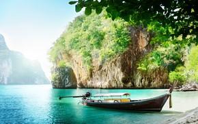 Picture sea, nature, Boats, crag