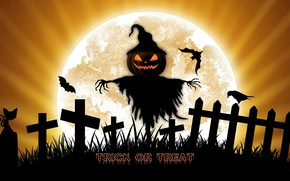 Picture night, holiday, the moon, pumpkin, Halloween, Scarecrow
