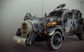 Wallpaper sci-fi ww2 allied standard car, Matthias Develtere, art, machine