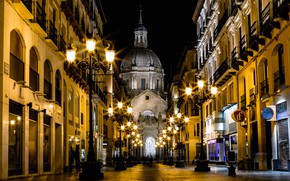 Picture lights, Zaragoza, night, street, Cathedral, lights, home, Spain