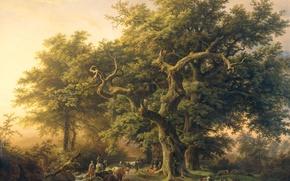 Wallpaper landscape, The Edge Of The Forest, Barend Cornelis Koekkoek, oil, animals, canvas
