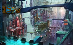 Picture fish, the city, fantasy, girl