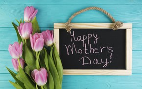 Picture flowers, tulips, Board, pink, fresh, wood, pink, flowers, tulips, spring, tender, mother's Day