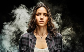 Picture girl, background, smoke, brunette, fantasy, hairstyle, the series, shirt, TV Series, Dorothy Gale, Adria Arjona, …