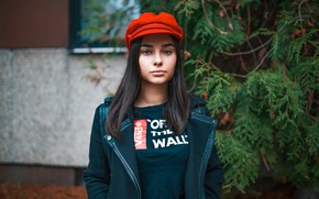 Picture girl, red, portrait, makeup, brunette, jacket, t-shirt, hairstyle, cap, takes, bokeh