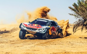 Wallpaper Sand, Sport, Speed, Skid, Peugeot, Red Bull, Rally, Rally, Sport, The front, RedBull, DKR, 3008, ...