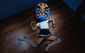 Picture girl, pose, mask