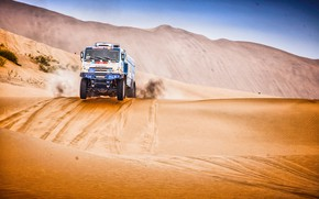 Picture The sky, Sand, Nature, Sport, Speed, Truck, Race, Master, Hills, Beauty, Russia, Beast, Kamaz, Rally, …