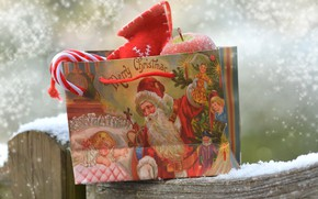 Picture snow, gift, package, Christmas, New year
