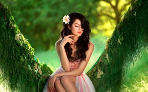 Picture flower, grass, leaves, girl, nature, swing, dress, brunette, curls, bokeh
