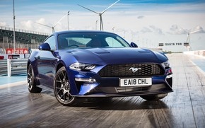 Picture Mustang, Ford, front view, Fastback, 2018, Ecoboost