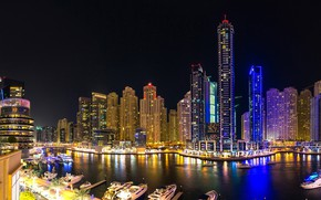 Wallpaper Night, Dubai, river, The city, night lights, skyscraper