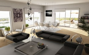 Picture design, room, sofa, chairs, living room
