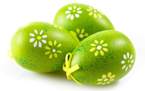 Wallpaper macro, eggs, colorful, green, Easter, holidays, bow, background, Easter, egg