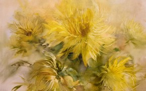 Picture dandelions, Still life, yellow flowers, Sfumato, gift painting, Petrenko Svetlana