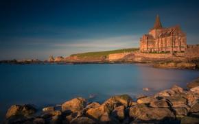 Picture sea, stones, coast, Scotland, Church, Scotland, North sea, North Sea, Fife, Fife, St Monans Church