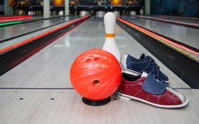 Wallpaper bokeh, pin, ball, hall, bowling, sneakers