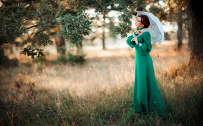 Wallpaper girl, style, retro, umbrella, tree, mood, dress, oak, Alexander, Olga Boyko