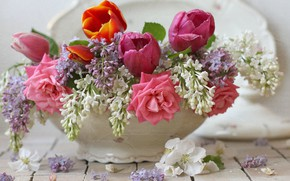 Picture flowers, roses, Vase, tulips, lilac
