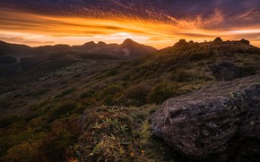 Picture summer, the sky, grass, clouds, light, sunset, mountains, nature, stones, hills, vegetation, stone, tops, the …