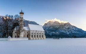 Picture winter, snow, mountains, Germany, Bayern, Alps, Church, Germany, Bavaria, Alps, Schwangau, Schwangau, Saint Coloman, Church …