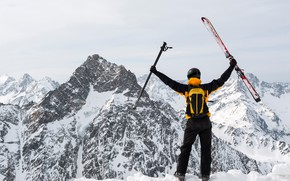 Picture winter, snow, landscape, mountains, rocks, ski, stick, costume, helmet, backpack, skier