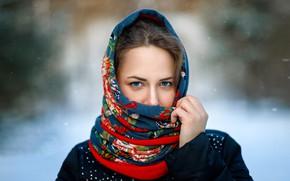 Picture portrait, sponge, shawl, blue-eyed, Xenia, photographer Sergey Sergeev