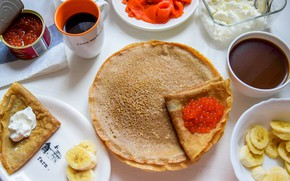 Picture chocolate, bananas, pancakes, caviar, sour cream