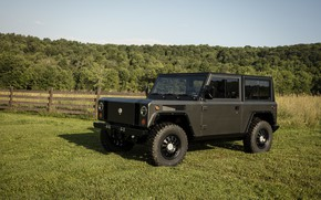 Picture forest, grass, lawn, the fence, SUV, electric, Bollinger, B1 Electric Truck