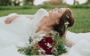 Picture summer, flowers, face, bouquet, dress