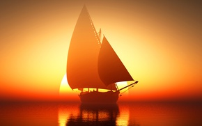 Picture sea, the sun, sunrise, ship, sailboat, horizon, glow
