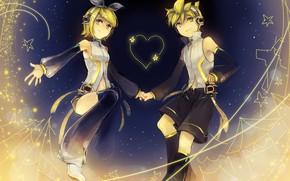 Picture children, background, anime, art, two, Vocaloid, Vocaloid, smile, Kagamine Len, Kagamine Rin
