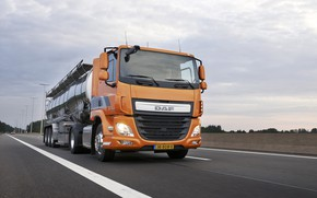Picture road, clouds, trees, orange, DAF, tank, tractor, DAF, the trailer, 4x2, Euro6, DAF CF 440 …