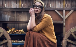 Picture look, girl, reverie, face, pose, sweetheart, model, hat, skirt, glasses, brown hair, beautiful, the beauty, …