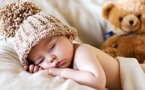 Picture sleep, boy, bear, sleeping, cap