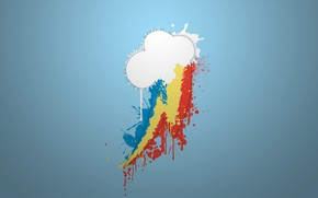 Picture white, blue, yellow, red, blue, paint, pony, rainbow, cloud, Rainbow Dash, MLP, pony, My little ...
