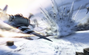 Picture winter, field, snow, trees, the explosion, attack, figure, art, fighter-bombers, American, dive, Republic P-47 Thunderbolt