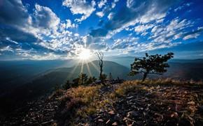 Picture the sky, the sun, clouds, mountains, Colorado, USA, Colorado, Rocky Mountains
