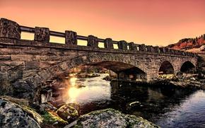 Picture bridge, dawn, morning, Norway, Norway, Stonebridge