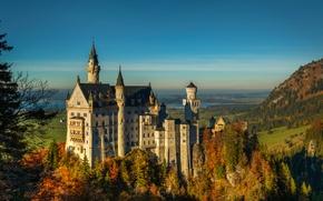 Picture autumn, lake, castle, tower, Germany, Bayern, Neuschwanstein